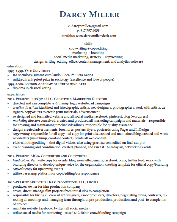 contract writer resume